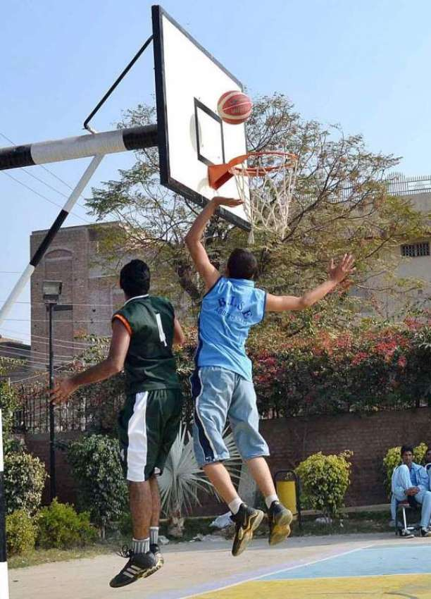 SARGODHA A View Of Basketball Match Between Abbottabad And Faisalabad Teams During All Pakistan Inter Boards