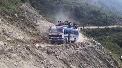 Bus fell off in a ravine near Azad patan.