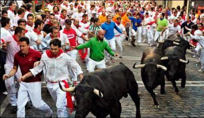 Bull fighting in Spain, eight injured