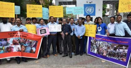 Sri Lankans protest before UN office for immediate resolution of Kashmir issue