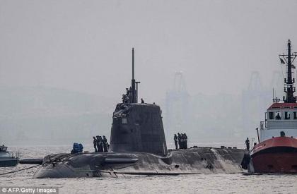 British nuclear submarine docks in Gibraltar after collision