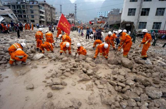 11 died and 12 missing due to land sliding in China