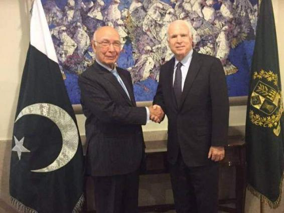 US delegation visit Sirtaj Aziz, expressed satisfaction over the peaceful situation in FATA