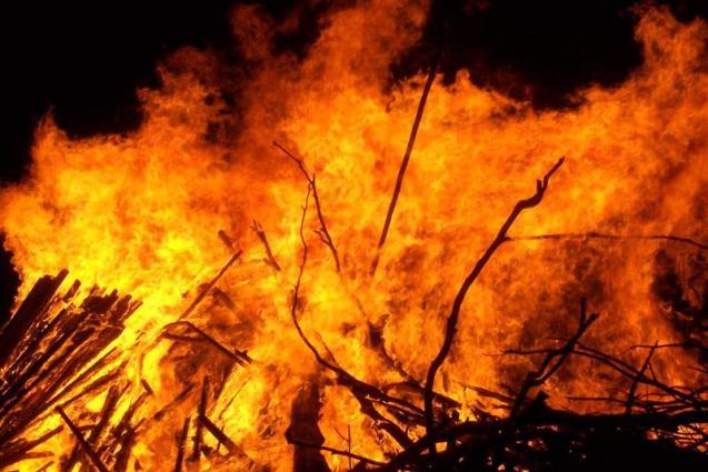 A shoe factory caught fire