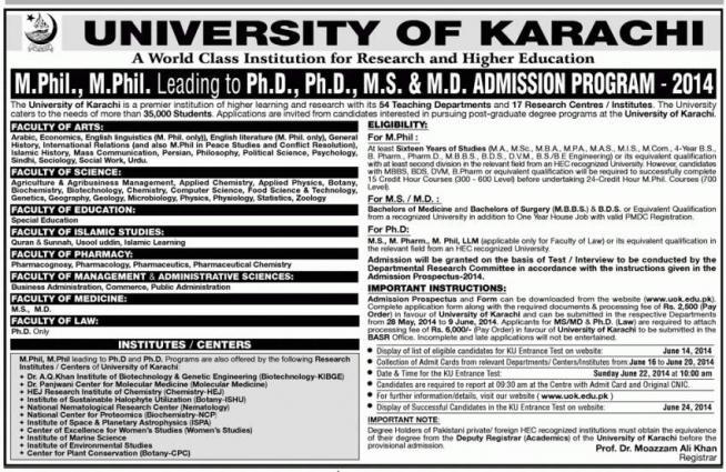 Karachi University to award 41 PhD, 13 MPhil degrees