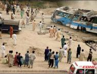 Dadu: Passenger coach overturned on Bhan Bypass road, injuring 13 ..