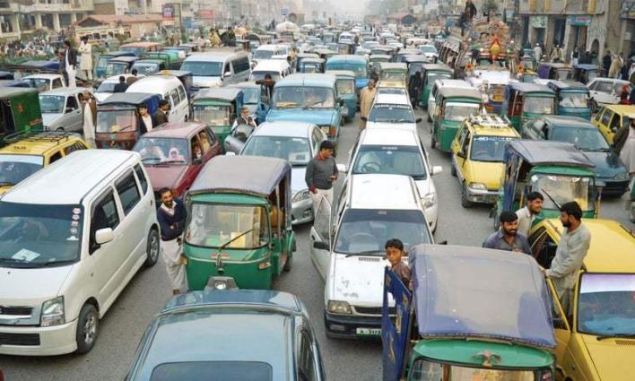 City chocked with traffic gridlock