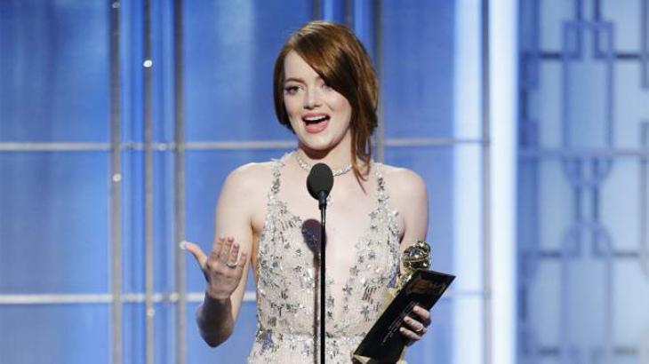 Emma Stone wins Globe for best actress in musical for 'La La Land'