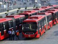Male passengers occupying maximum space in Metro Bus in Rawalpind ..