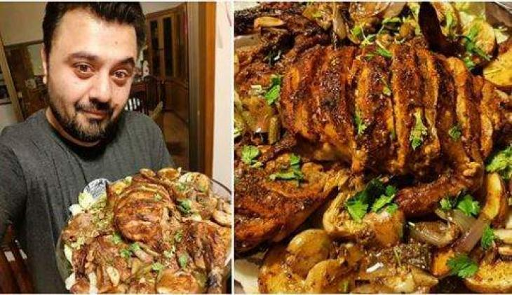 Ahmed Ali Butt Treats Family With Roasted Masala Chicken Urdupoint