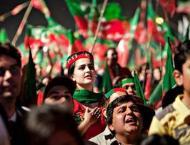 Pakistan Tehreek-e-Insaf (PTI) workers protest outside Imran's re ..