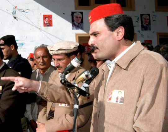 Provincial President of Awami National Party (ANP) Ameer Haider Khan Hoti rally in Khar on Tuesday
