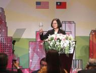 Taiwan leader irks China with rare US speech