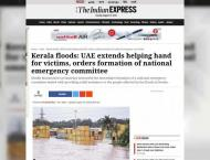 Indian media hails UAE support for Kerala flood victims
