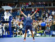 Rafael Nadal after retiring with a right knee injury in his semi- ..