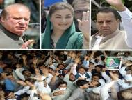 PML-N workers celebrate release of Nawaz Sharif, Maryam, Safdar