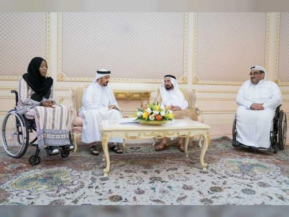 Sharjah Ruler receives Chairman of Al Thiqah Club for Handicapped