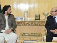 President AJK meets Minister Shehryar Afridi