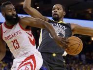 Rockets thrash 'banged up' Warriors, Nuggets bounce back
