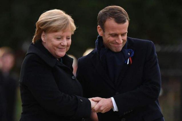 Macron, Merkel unveil plaque at site of WWI armistice