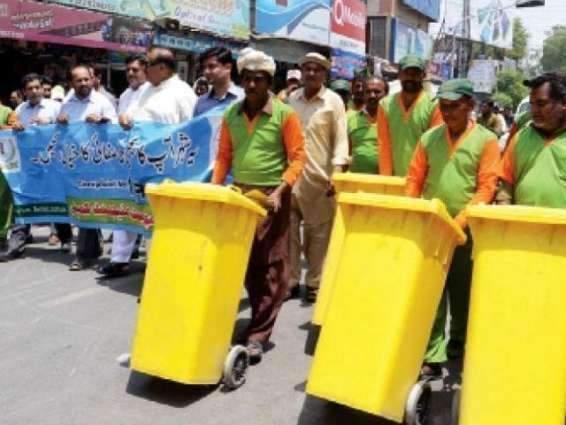 Faisalabad Waste Management Company (FWMC)  distributes pamphlets