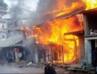 Three shops gutted in fire due to short circuit