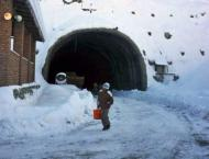 Snow removing operation in progress at Lowari Tunnel