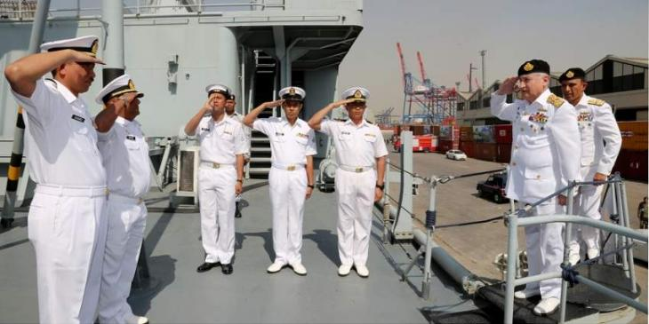 Activities Of Exercise 'AMAN 2019' Continue On The 3Rd Day : Chief Of The Naval Staff Visits Foreign Navy Ships