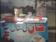This tea stall features Abhinandan's picture to attract custome ..