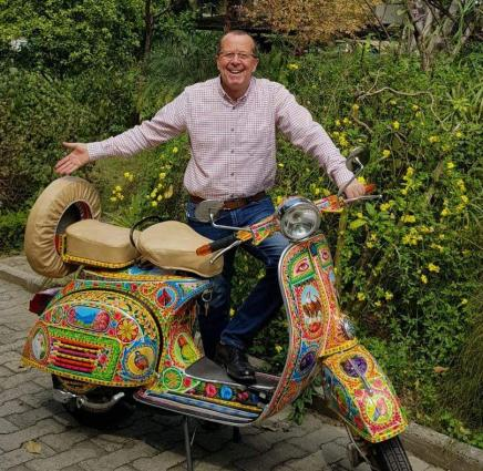 Martin Kobler gets truck art scooter to take back in Berlin