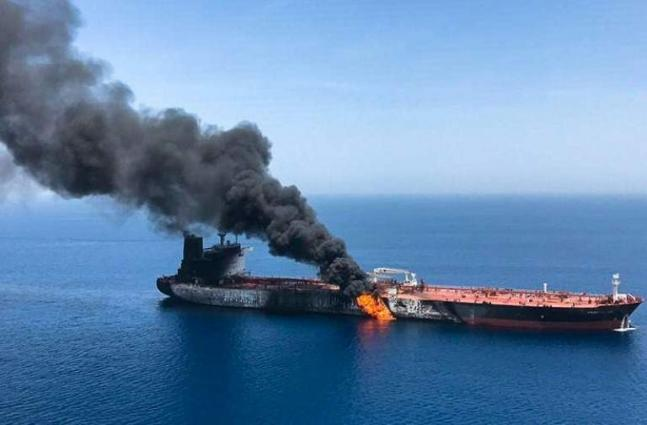 Tankers ablaze in suspected attacks near Gulf oil chokepoint