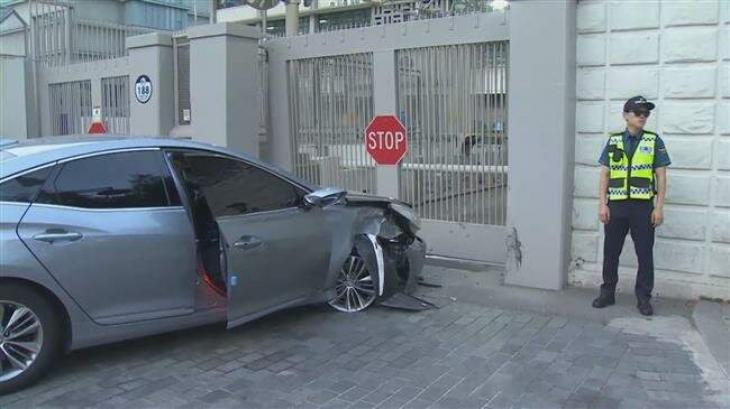 Man arrested after car rams US embassy gate in South Korea