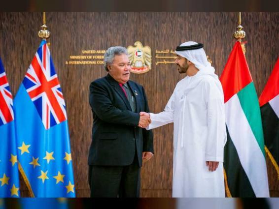 Abdullah bin Zayed receives Tuvalu PM