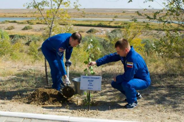 NASA Astronaut Plants Tree in Baikonur Ahead of First Mission to Space Station