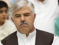 Khyber Pakhtunkhwa Chief Minister Mahmood Khan  attends meeting c ..