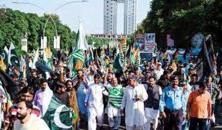 Non Governmental Organization's stages Kashmir rally