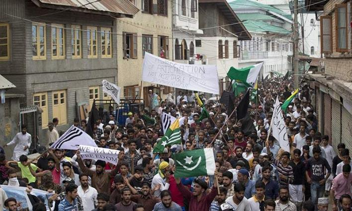 Indian opposition parties protest against clampdown in IOK