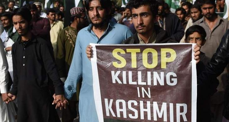 Series of protest to denounce Indian act of changing IoK's status continues