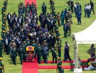 African leaders laud Mugabe at state funeral in divided Zimbabwe