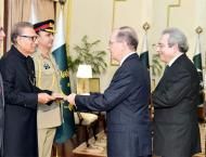 Non-resident envoys of five countries present credentials to pres ..