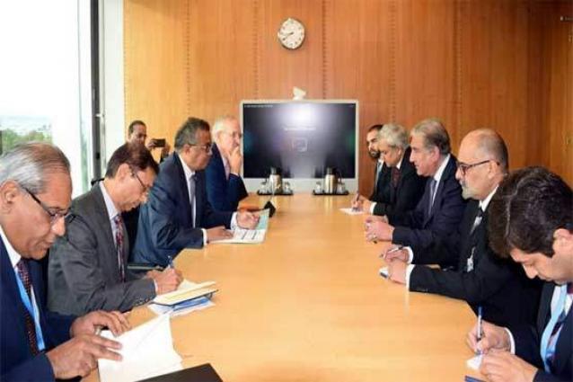 وزیر الخارجیة الباکستاني شاہ محمود قریشي یلتقي المدیرا العام لمنظمة الصحة العالمیة تیدروس أدھانوم غیبریسوس