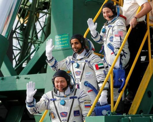 Trio's arrival boosts space station's population to nine, including first Emirati