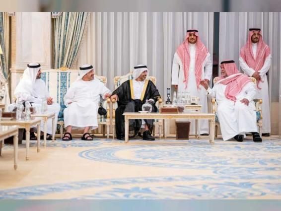 Theyab, Abdullah bin Zayed convey UAE Leaders' condolences to Prince Bandar bin Sultan