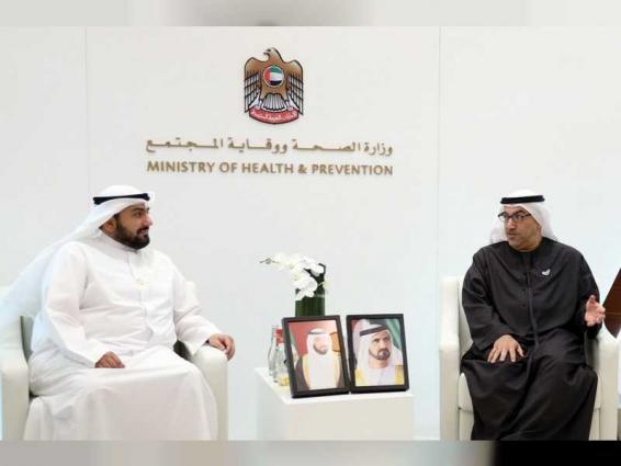 """عبد الرحمن العويس يلتقي وزيري الصحة بالسعودية والكويت خلال """"الصحة العربي 2020 """""""