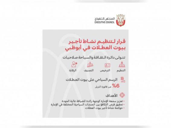 المجلس التنفيذي يصدر قراراً بشأن تنظيم وترخيص بيوت العطلات في أبوظبي