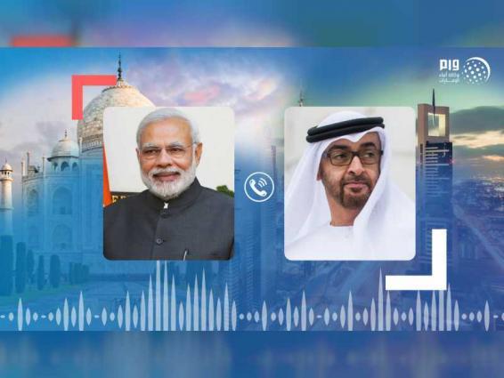 محمد بن زايد يتلقى اتصالًا هاتفيًا من رئيس وزراء الهند