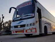 Corona virus pandemic: bus stand washed