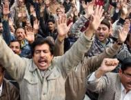 WASA employees hold rally against non payment of salaries