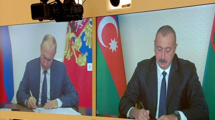 Kremlin Publishes Statement of Putin, Aliyev, Pashinyan on Karabakh