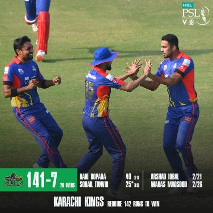 Multan Sultans set the target of 142 for Karachi Kings